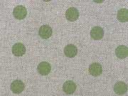 Dekostoff Punkte 1,3 cm - hellgrün auf natur