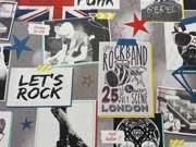 RESTSTÜCK 102cm Dekostoff Rockband/Lets Rock-weiss/bunt