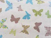 Dekostoff Schmetterlinge, eisblau auf natur