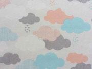 RESTSTÜCK 92cm Dekostoff Skandinavischer Look Wolken, pastell
