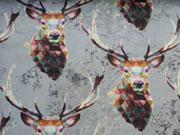 Baumwolle Digitaldruck Geo-Deer Hirsch mit Geweih