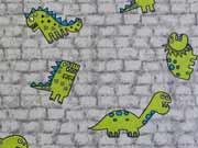 Baumwolle Dinos, grün auf grau