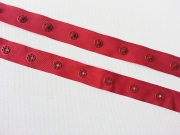 Druckerband-Druckknopfband Abstand 2,5 cm, rot