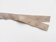 Druckerband-Druckknopfband Abstand 2,5 cm, beige