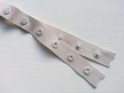 Druckerband-Druckknopfband Abstand 2,5 cm, ecrue