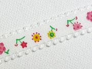 elastisches Band mit Blümchen-creme/weinrot/gelb