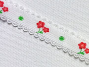 elastisches Band mit Blümchen-weiss/rot/grün