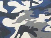 RESTSTÜCK 31 cm Stretchbaumwolle Camouflage- dunkelblau grau