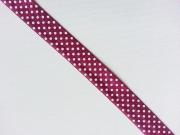 elastisches Falzband Punkte, weiss auf beere