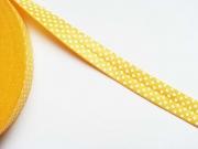 elastisches Falzband, Punkte, weiss auf gelb
