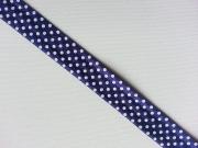 elastisches Falzband Punkte, weiss auf blaulila