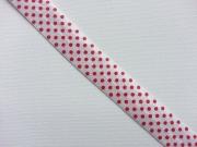 elastisches Falzband Punkte, rot auf weiss