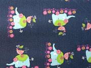 BW Elefanten & Vögel, dunkelblau
