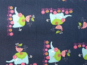 Baumwollstoff Elefanten & Vögel, dunkelblau