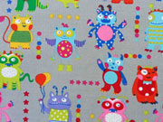 Feincord Monster Fun bunte Monster auf grau
