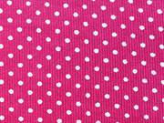 Feincord Pünktchen, weiss auf pink