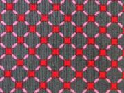 Feincord Sparkle Rauten - grau/rot
