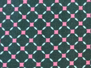Feincord Gittermuster Rauten, pink auf dunkelgrün