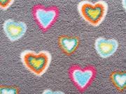 RESTSTÜCK 38 cm Fleece Stoffe Herzen, bunt auf grau
