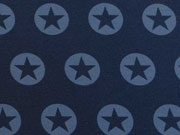 RESTSTÜCK 74cm sweatstoff French Terry Stern im Kreis - eisblau dunkelblau