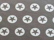 RESTSTÜCK 82 cm French Terry Stern im Kreis 3,2cm - weiss/taupe