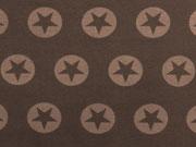 French Terry Stern im Kreis 3,2cm-hellbraun/braun