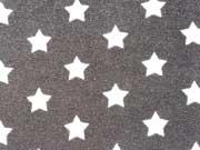 RESTSTÜCK 38 cm Sweat Frottee mit Sternen 3,3 cm, dunkelgrau-weiss