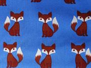 Baumwollstoff Füchse - braun auf himmelblau