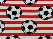 RESTSTÜCK 37 cm Jersey Fußball Streifen, weiß rot