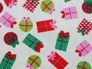 Baumwollstoff Geschenke, bunt cremeweiß