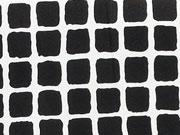 RESTSTÜCK 49 cm Elastischer Baumwollstoff Gittermuster, weiß schwarz