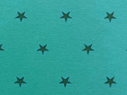 Glattes Bündchen petrol Sterne auf aquamarin