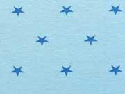 Glattes Bündchen mittelblaue Sterne auf hellblau