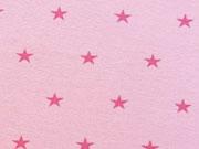 Glattes Bündchen pinke Sterne auf rosa