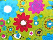 Baumwolle Grosse Blumen, limette/bunt