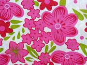 Baumwollstoff opulente Blumen, pink hellgrün weiss