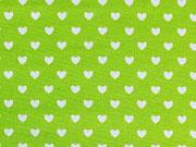 RESTSTÜCK 26 cm Baumwolle Herzchen - hellgrün (limette) weiß