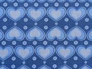 Herzen hellblau auf blau