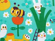 RESTSTÜCK 70 cm Bio-Jerseystoff Bienen Hasen Blumen, gelb grün