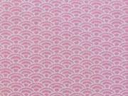 Jerseystoff Interlock Wellen, weiß rosa