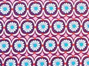 Jersey Blumenmuster Jolijou, rosa aubergine
