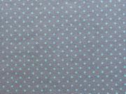 Jersey Punkte 2mm - aqua auf dunkelgrau