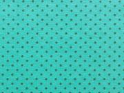 Jersey Punkte2mm - dunkelgrau auf aqua