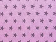 Jersey Sterne 1 cm - dunkles altrosa auf rosa