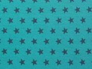 Jersey Sterne 1 cm - dunkelgrau auf aqua