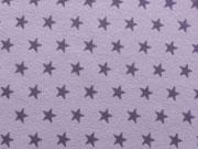Jersey Sterne 1 cm -  lila auf flieder