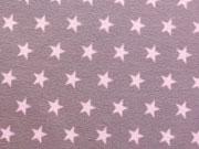 Jersey Sterne 1 cm - rosa auf dunklem altrosa
