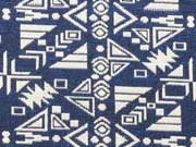 Jacquard Inkamuster- blau/weiß