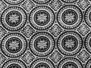 RESTSTÜCK 80 cm Jacquard Jersey Anita Ornamente - schwarz weiß