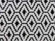 Jacquard Strick Peru Rautenmuster - schwarz